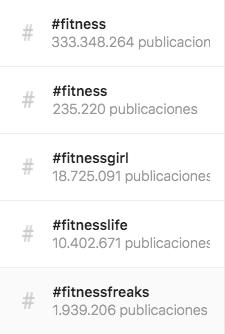 Todos los hashtags de Fitness