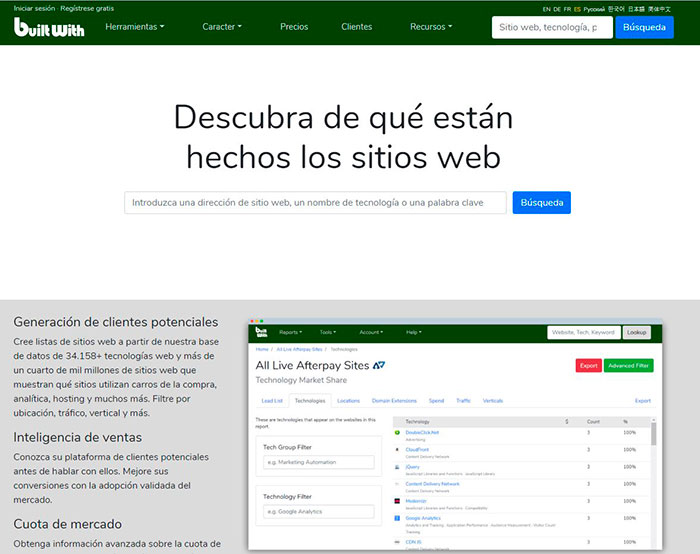 Built With para saber que tema utiliza tu web