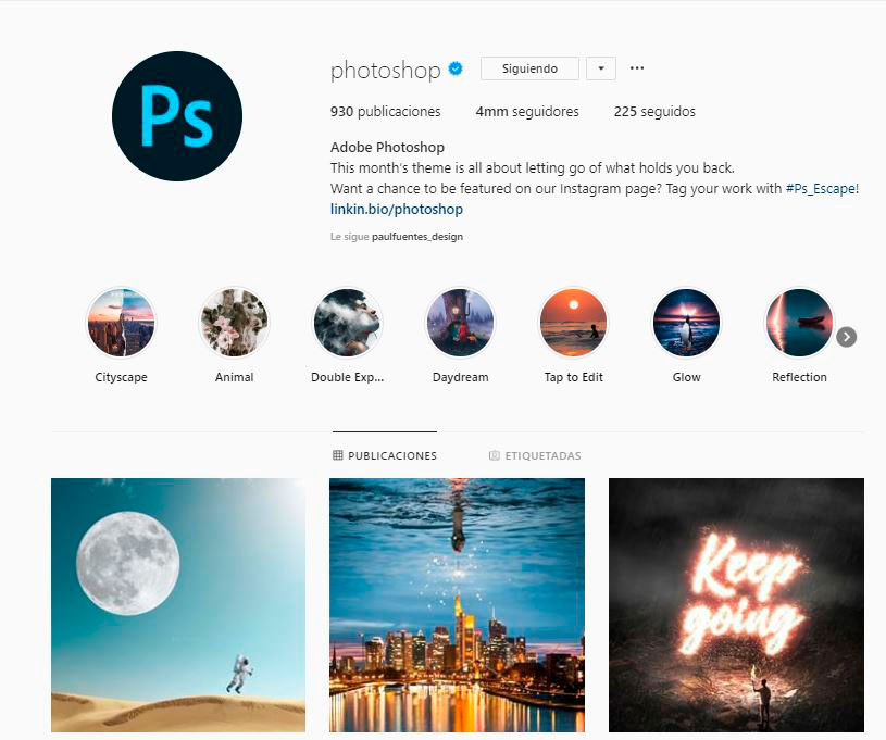 Cuenta de Instagram de Photoshop
