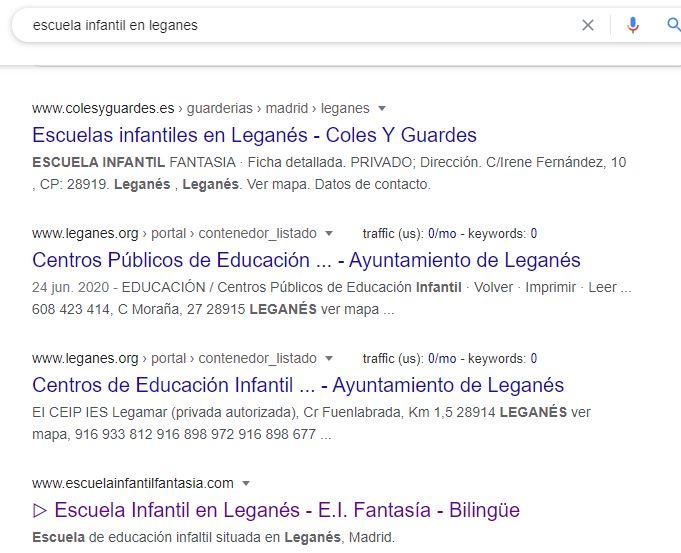 Búsqueda en Google Escuela Infantil en Leganés