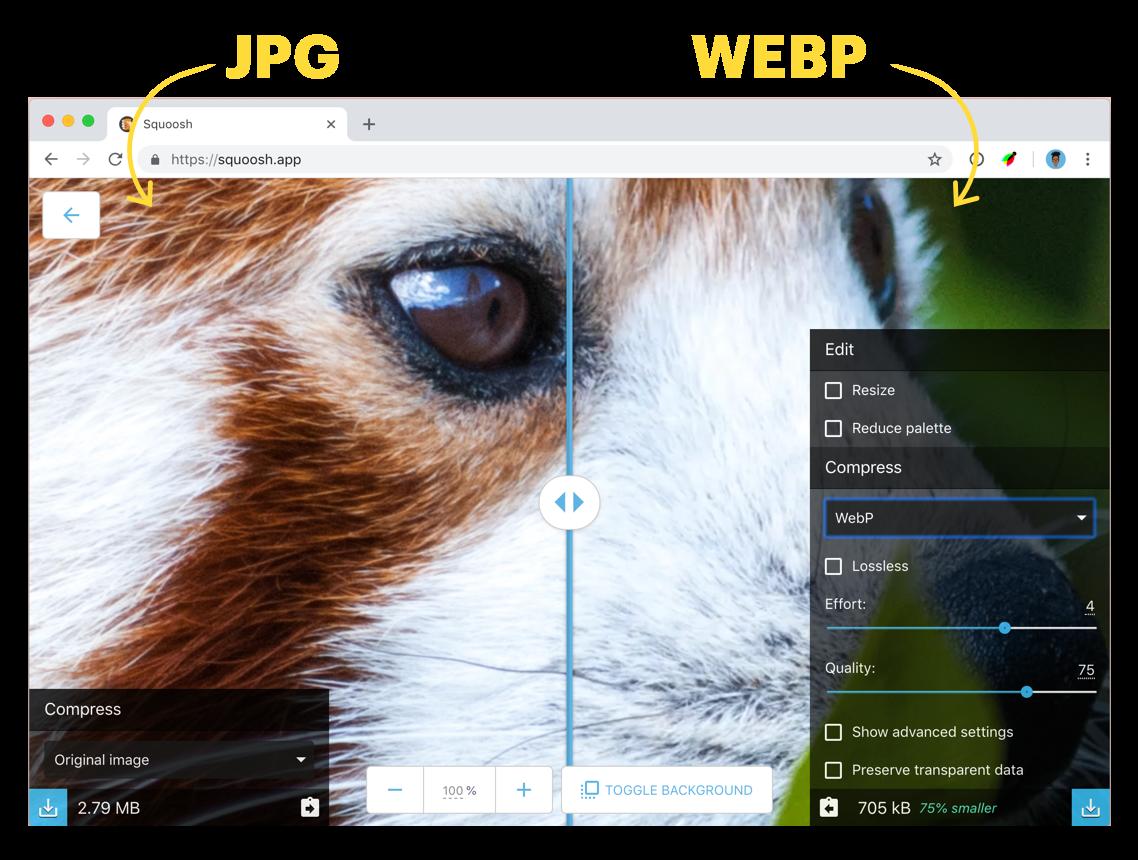 Reducir Imágenes con WEBP