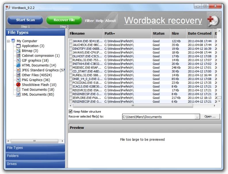 Recuperar un archivo Word No guardado con Wordback