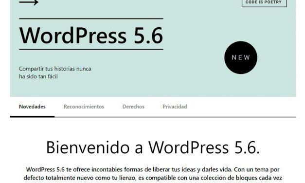 Nueva actualización WordPress 5.6